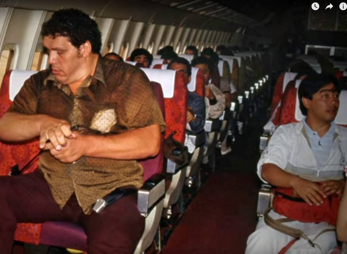 andre taking two seats on plane