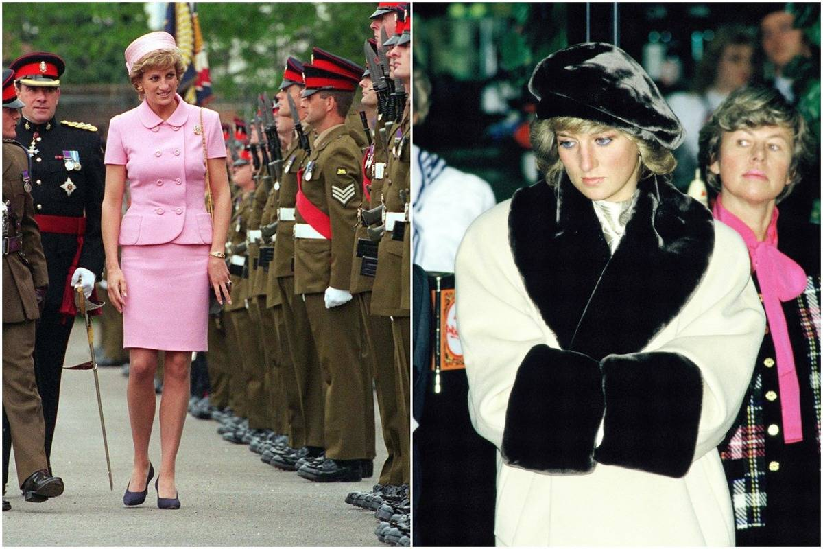 On the left, Diana wears a pink suit and pillbox hat; on the right, she wears a black beret.