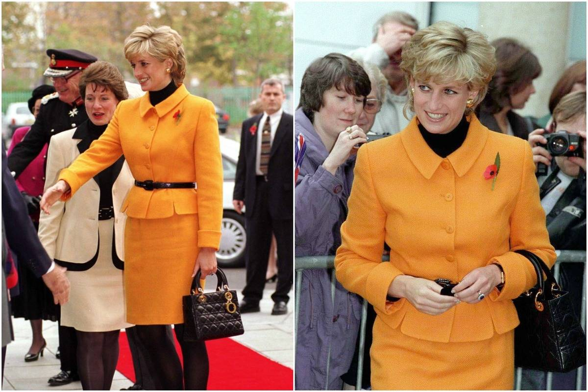 Diana wears an orange suit jacket and skirt to the Liverpool Women's Hospital in 1995.