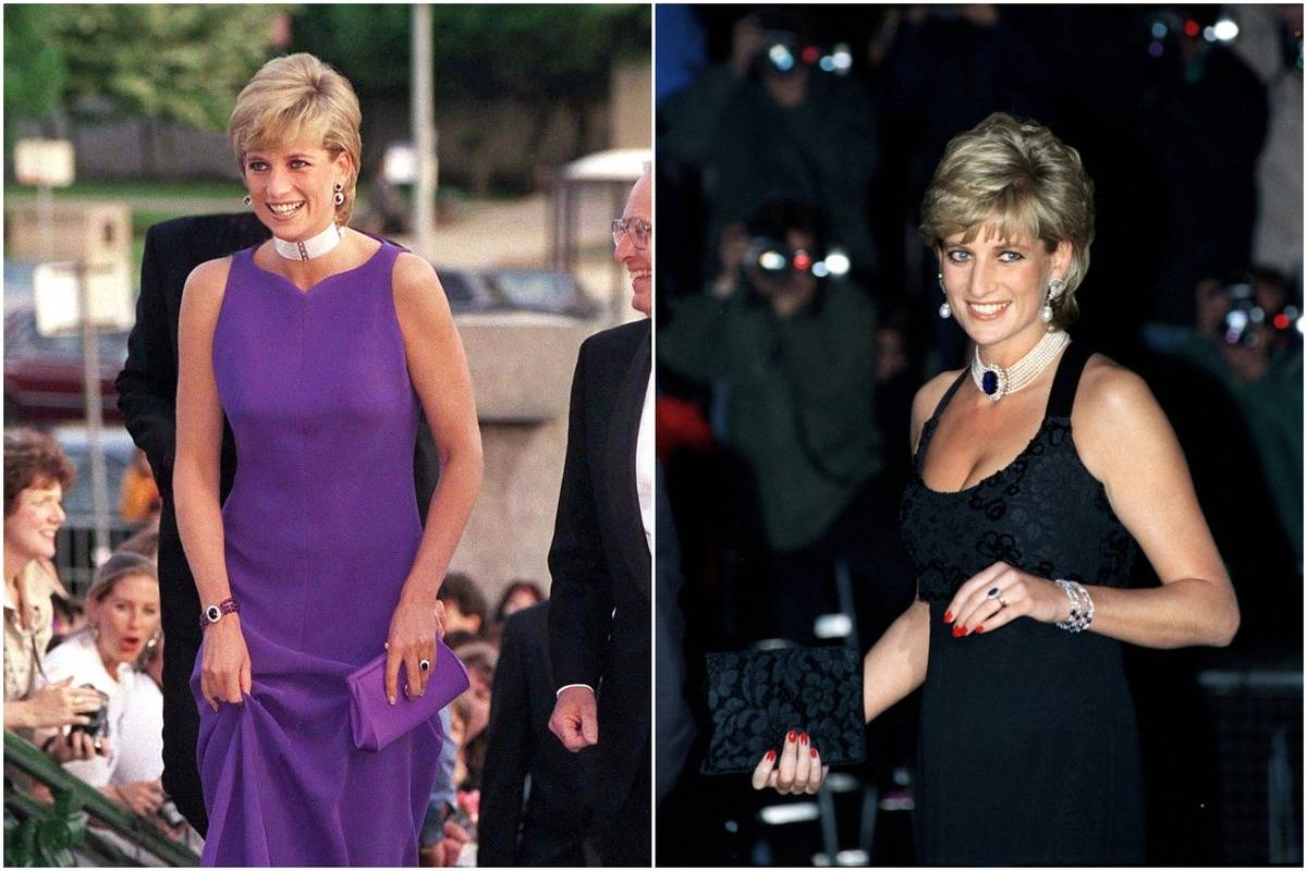 Two photos show Diana wearing large, glittery chokers with dresses.