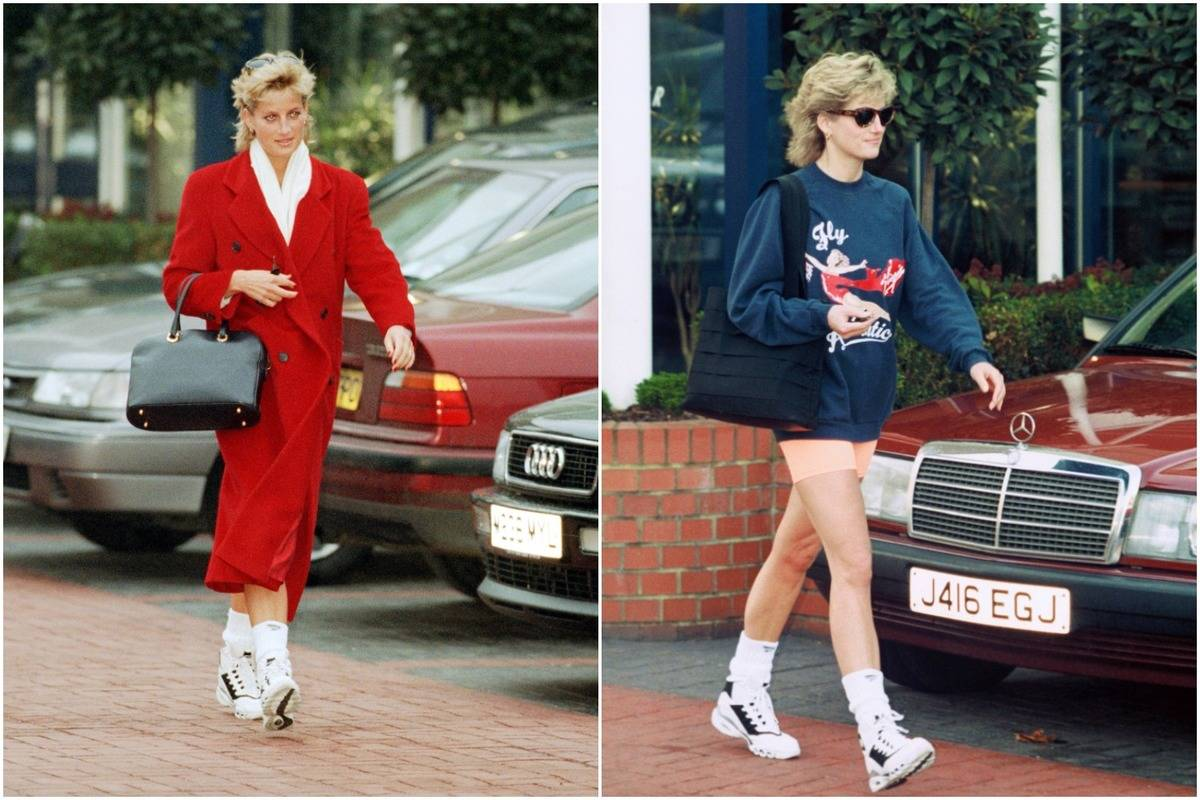 In two photos, Princess Diana wears black and white sneakers with tall socks.