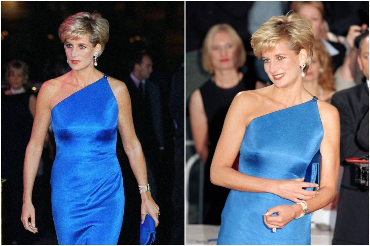 Diana wears a blue one-shoulder dress to the Victor Chang Research Institute Dinner Dance.