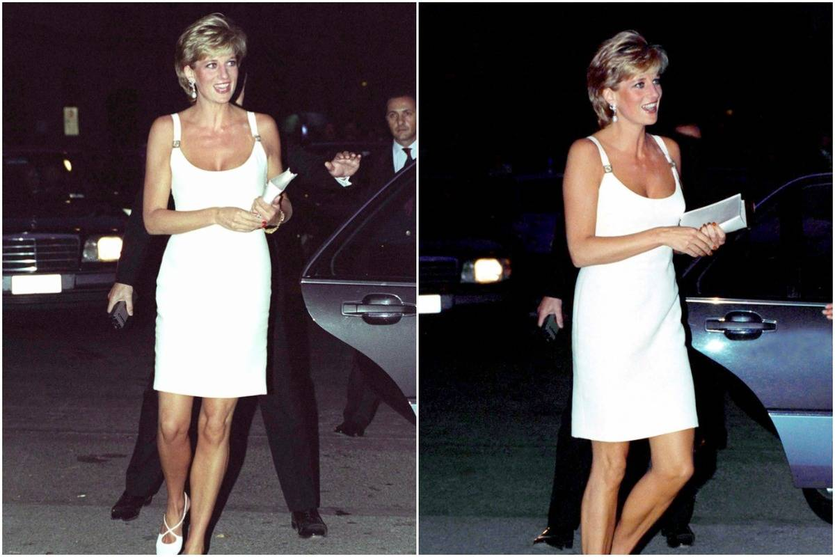 Diana wears a short, spaghetti-strap white dress.