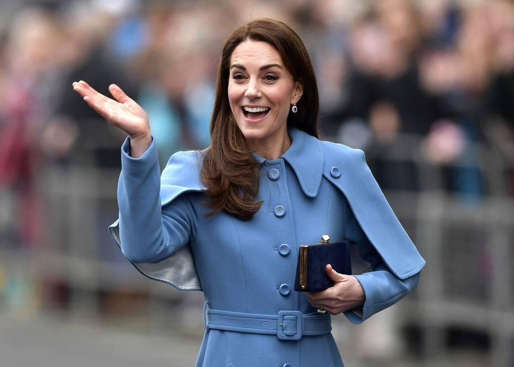 Kate wearing a blue coat in February 2019