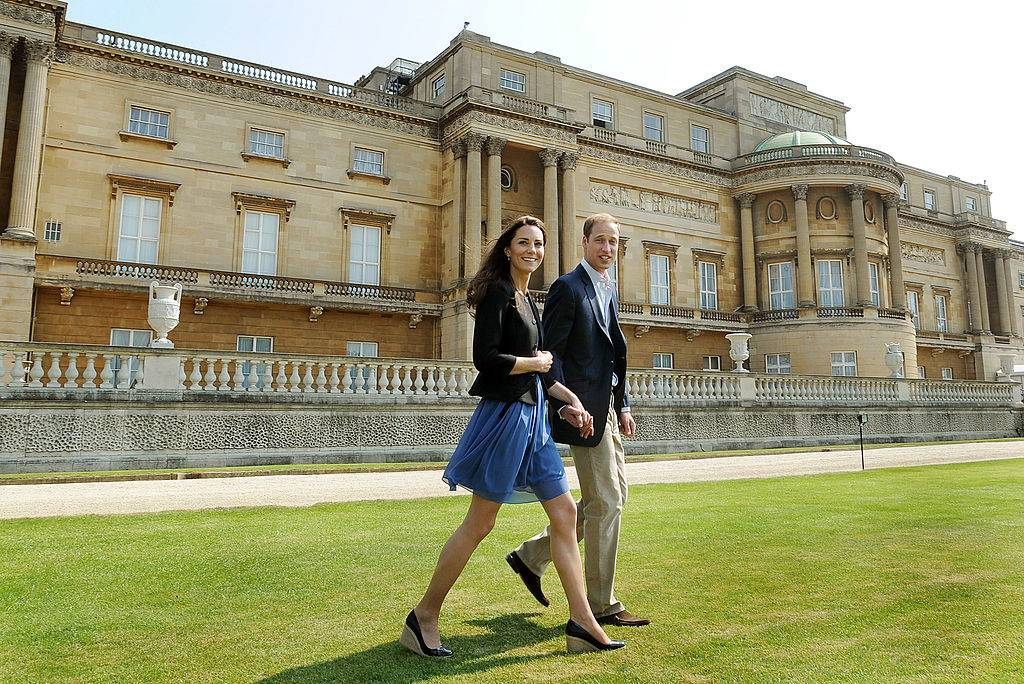 Prince William and Kate walking near Buckingham Palace in 2011