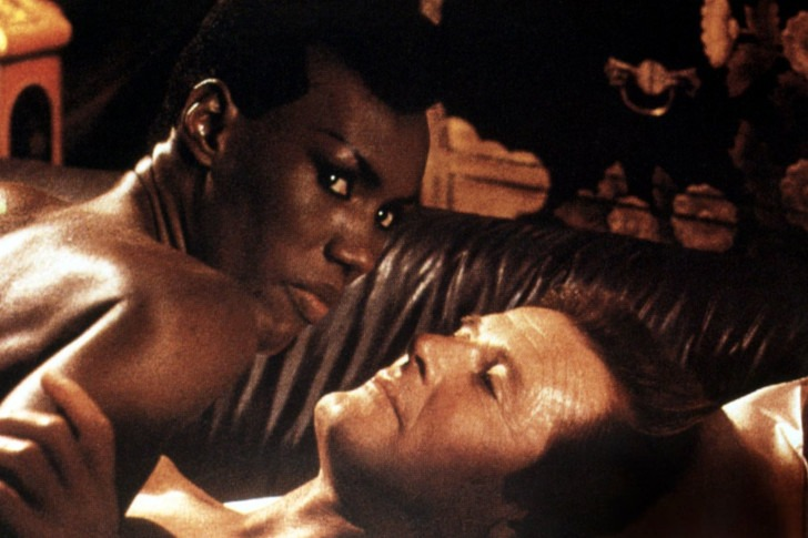 Roger Moore with Grace Jones in A View to Kill